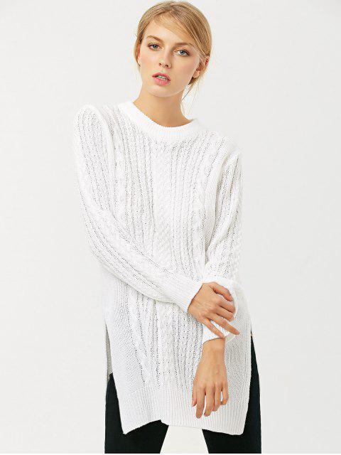 new Cable Knit Side Slit Jumper - WHITE M Mobile
