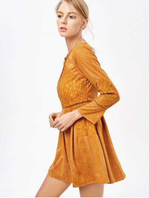 shop Lace Insert Cut Out Long Sleeve Dress - GINGER L Mobile