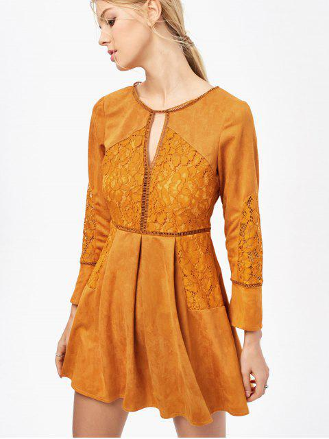 outfit Lace Insert Cut Out Long Sleeve Dress - GINGER 2XL Mobile