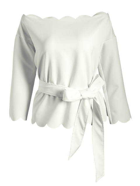 fashion Off The Shoulder Belted Scalloped Blouse - WHITE M Mobile