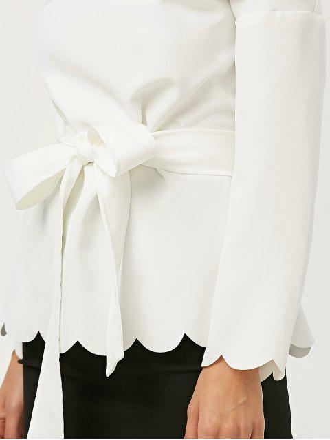 latest Off The Shoulder Belted Scalloped Blouse - WHITE XL Mobile