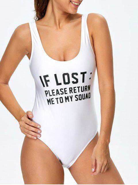 Maillot de bain à col bas et rond imprimé en lettres «If lost» - Blanc XL Mobile