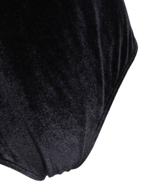 latest Flounce Velvet Swimsuit - BLACK 3XL Mobile