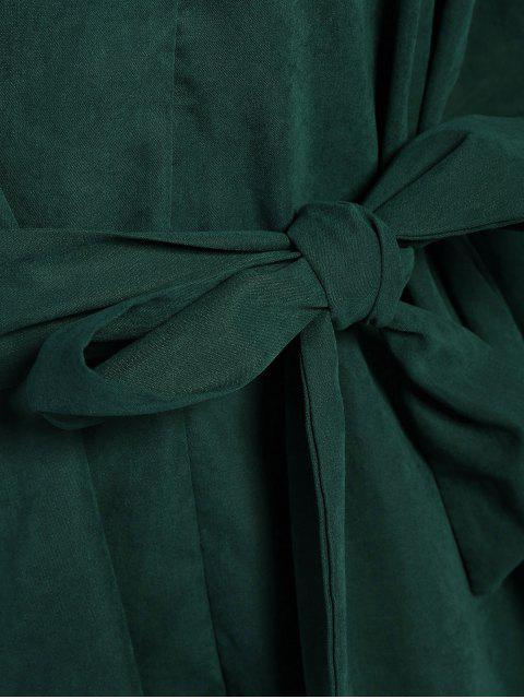 online Tie Belt Midi Shirt Dress - DEEP GREEN 2XL Mobile
