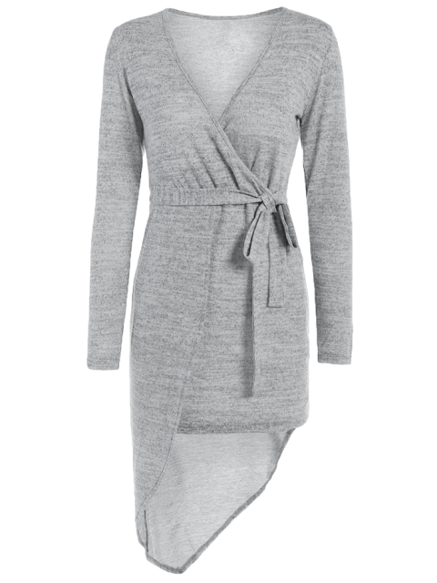 ladies Asymmetric Crossover Knit Dress - GRAY L Mobile