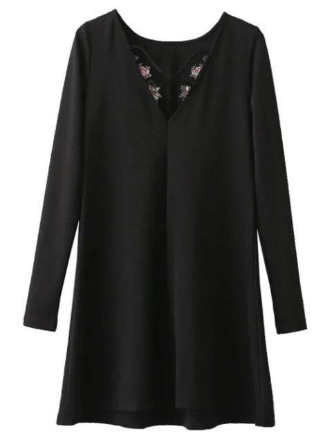 fashion Flounced Embroidered Long Sleeve Dress - BLACK M Mobile