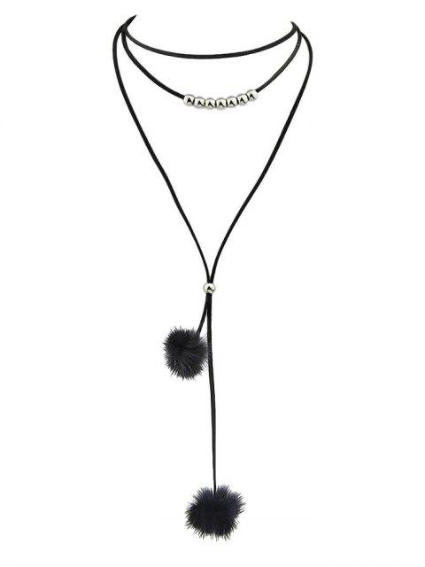 sale Pom Pom Choker Necklace - BLACK  Mobile