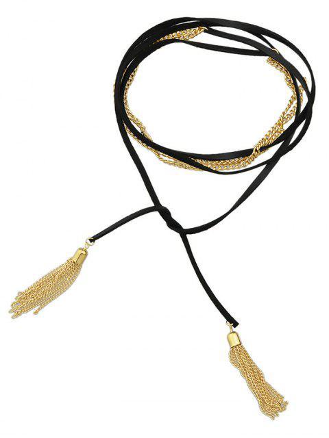 affordable Tassel Layered Wrap Choker - GOLDEN  Mobile