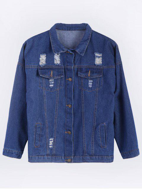 fashion Frayed Pockets Denim Shirt Jacket - DEEP BLUE 2XL Mobile