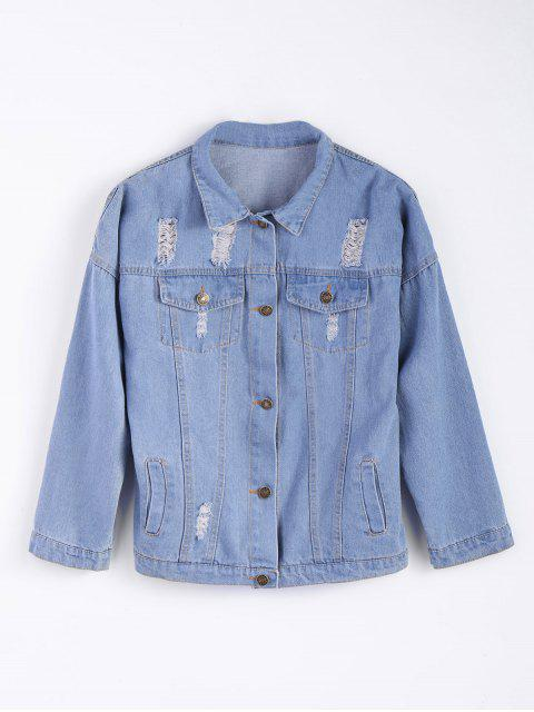 women Frayed Pockets Denim Shirt Jacket - LIGHT BLUE M Mobile
