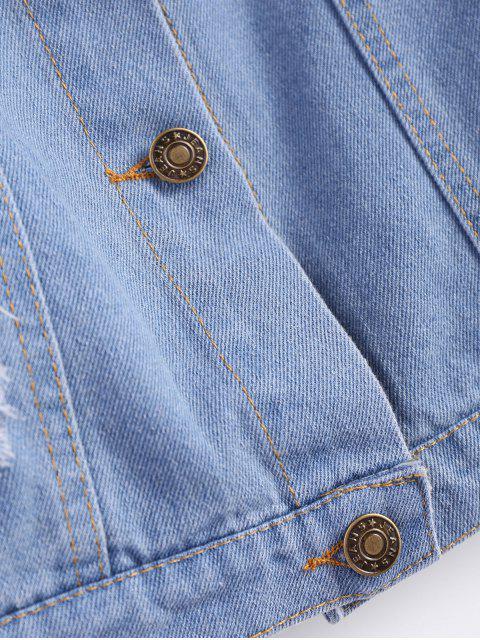 buy Frayed Pockets Denim Shirt Jacket - LIGHT BLUE XL Mobile