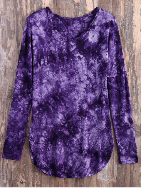 shop Tie Dyed Long Sleeves Tee - PURPLE S Mobile