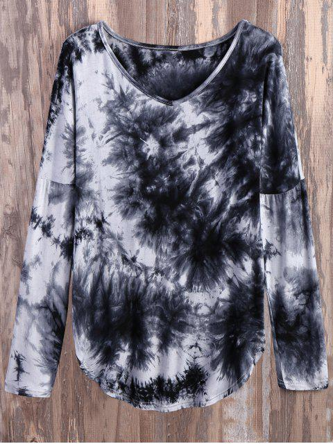 latest V Neck Long Sleeve Tie Dyed Tee - WHITE AND BLACK L Mobile
