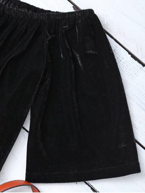 Top court à épaule tombantes et culotte en velours - Noir S Mobile