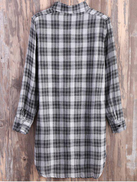 latest Pocket Plaid Flannel Shirt Dress - GREY AND WHITE M Mobile