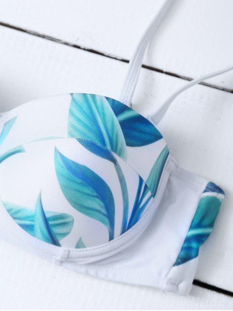 women Cut Out High Waisted Leaf Print Bikini - WHITE S Mobile