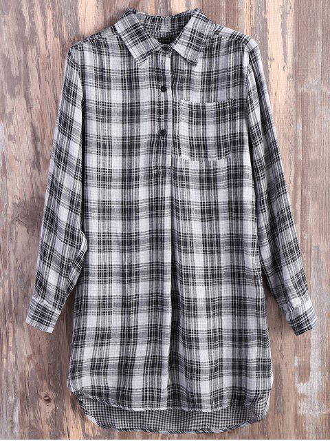 trendy Pocket Plaid Flannel Shirt Dress - GREY AND WHITE S Mobile
