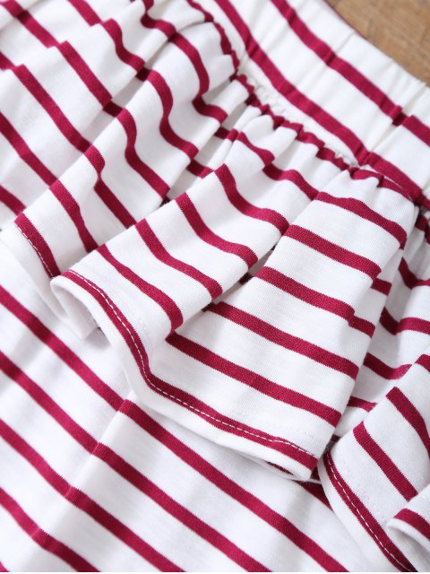 women Striped Off The Shoulder Ruffles Top - RED WITH WHITE L Mobile