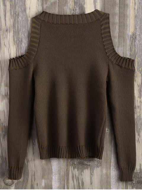 womens Loose-Fitting Cold Shoulder Sweater - CHOCOLATE ONE SIZE Mobile