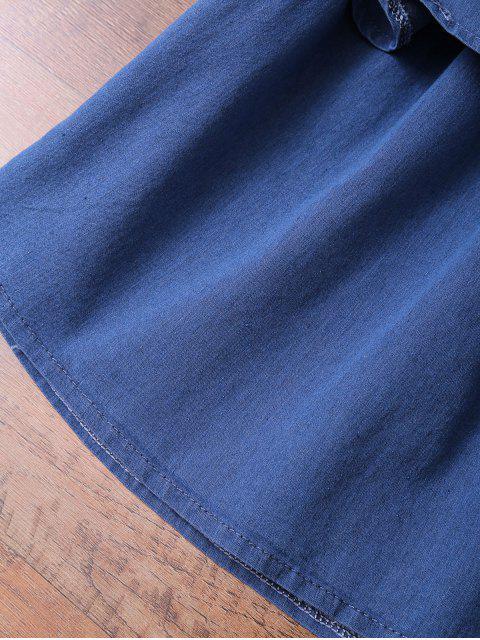 best Off The Shoulder Denim Frill Top - DENIM BLUE L Mobile