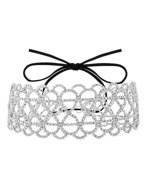 ladies Bowknot Hollowed Infinite Rhinestoned Necklace - WHITE  Mobile