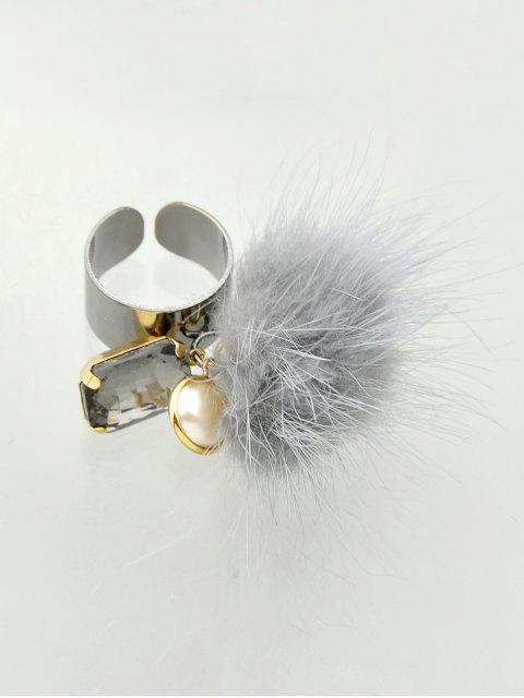 women Fuzzy Ball Cuff Ring -   Mobile