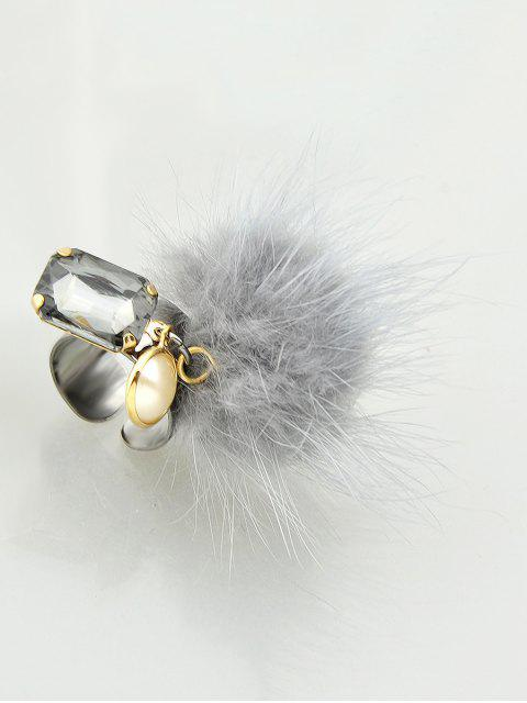 women Fuzzy Ball Cuff Ring -   Mobile