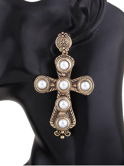chic Cross Faux Pearl Drop Earrings -   Mobile
