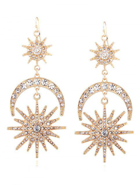 fancy Crescent Floral Rhinestone Drop Earrings -   Mobile