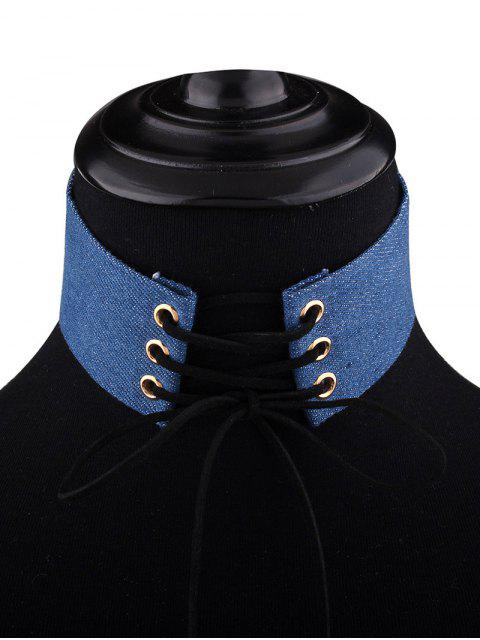 chic Adjustable Bowknot Denim Choker Necklace - #02  Mobile