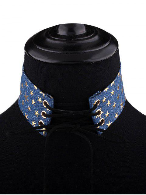 unique Adjustable Bowknot Denim Choker Necklace - #04  Mobile