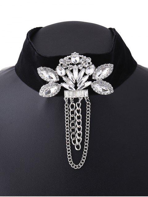 sale Faux Gem Velvet Chain Tassel Necklace -   Mobile