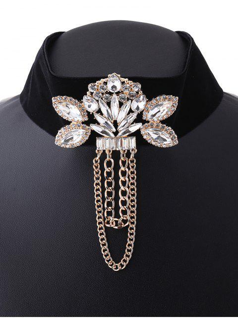 women's Faux Gem Velvet Chain Tassel Necklace -   Mobile