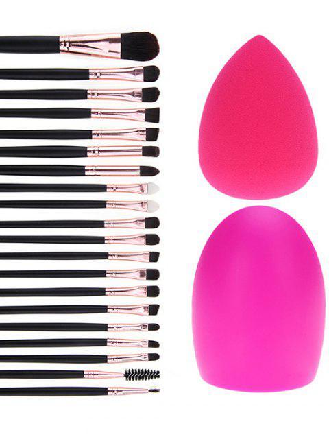 20 Pcs Pinceaux de  Maquillage des yeux  + éponge  de maquillage + brosse d'oeuf - Noir  Mobile