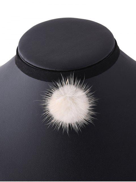 new Pom Ball Velvet Choker - OFF-WHITE  Mobile