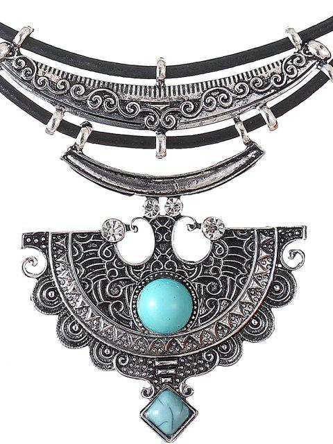 hot Faux Leather Turquoise Geometric Necklace -   Mobile