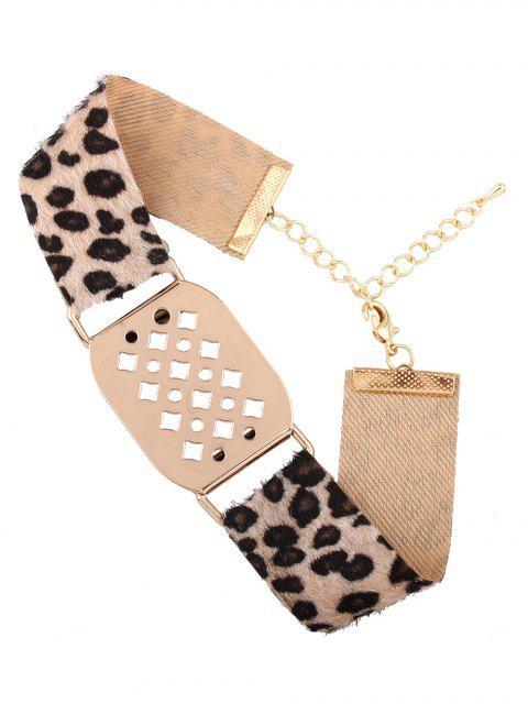 womens Hollowed Geometry Leopard Velvet Choker - YELLOW  Mobile