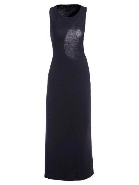 Vestido sin Manga con Espalda Abierta Asimétrica - Negro M Mobile