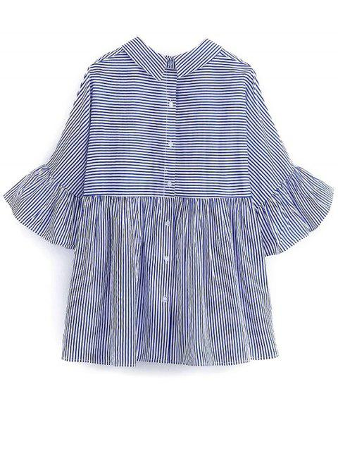 outfit Embroidered Striped Smock Blouse - BLUE L Mobile