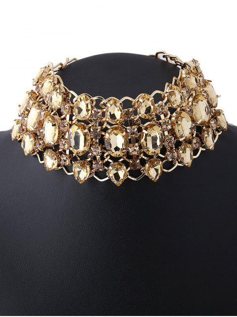 shop Wide Rhinestoned Hollow Out Choker - CHAMPAGNE  Mobile
