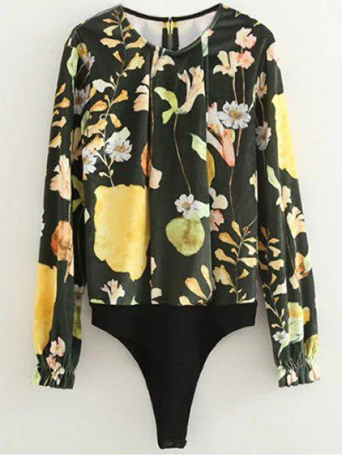 latest Floral Print Velvet Bodysuit - FLORAL S Mobile