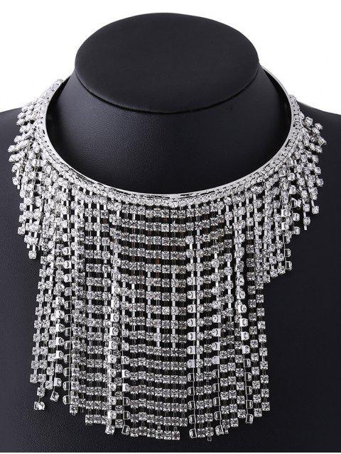 women's Rhinestoned Tassel Necklace - WHITE  Mobile