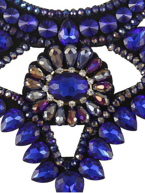 best Faux Gem Ribbon Water Drop Necklace - ROYAL  Mobile
