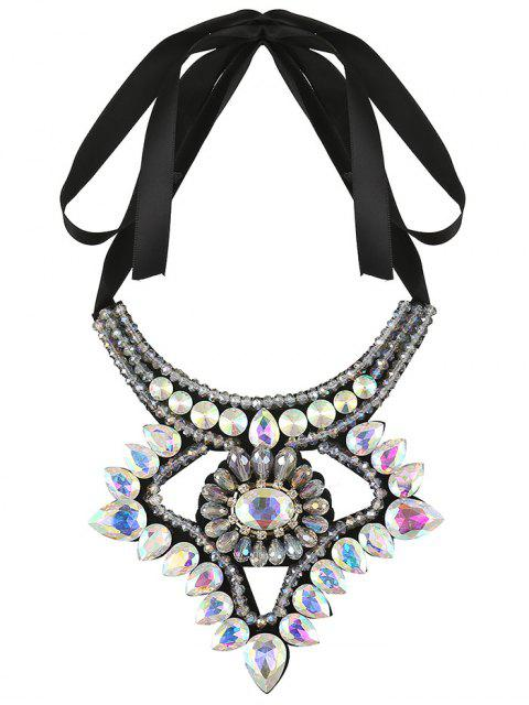 lady Faux Gem Ribbon Water Drop Necklace - COLORFUL  Mobile