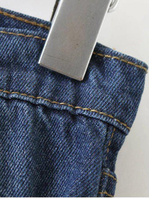 women Frayed Hem Floral Cropped Jeans - BLUE M Mobile