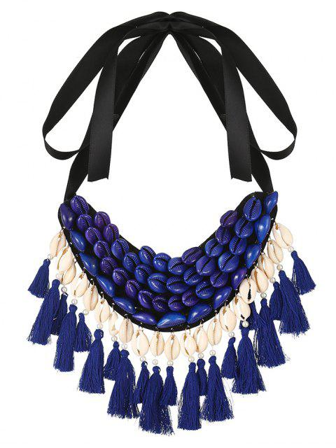 new Ribbon Shell Tassel Necklace - BLUE  Mobile
