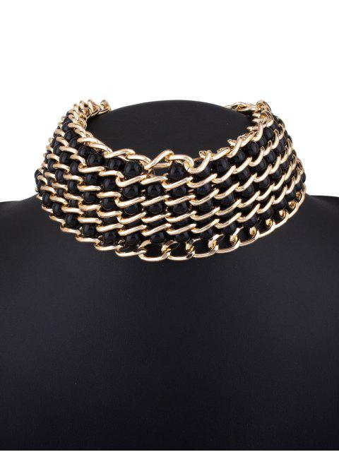 trendy Faux Pearl Layered Necklace - BLACK  Mobile