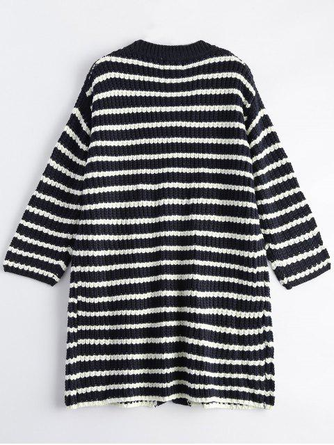 buy Striped V Neck Button Up Cardigan With Pockets - BLUE ONE SIZE Mobile