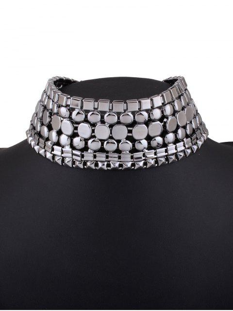 fashion Alloy Polished Wide Necklace - GUN METAL  Mobile