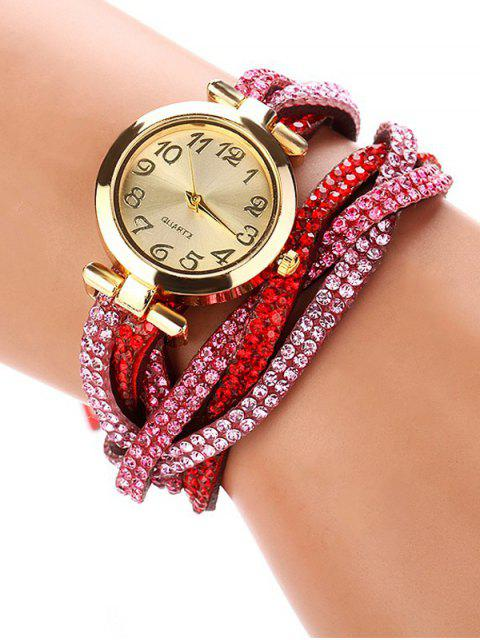 sale Rhinestone Studded Wrap Bracelet Watch - RED  Mobile